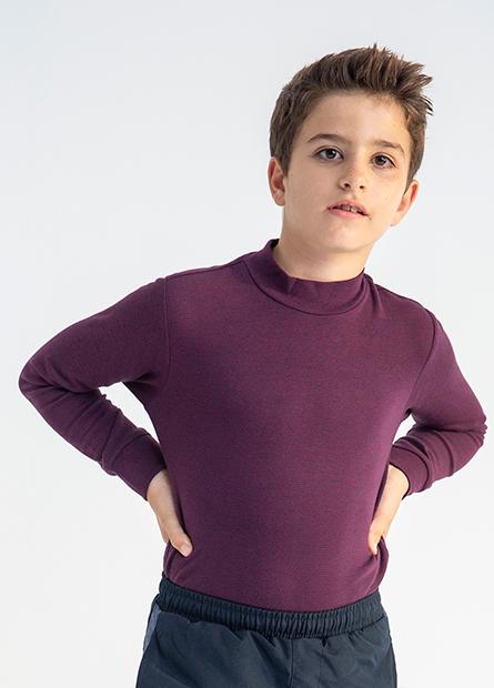 男童磨毛立領條紋T