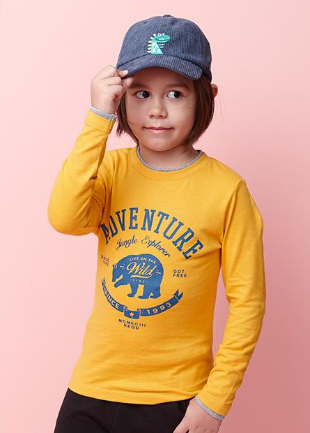 男童雙層領美式大熊T