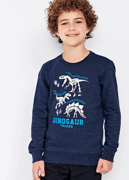 男童恐龍內刷毛上衣