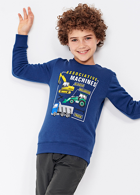 男童工程車內刷毛上衣