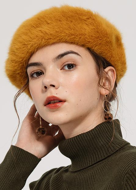 拉毛優雅貝蕾帽