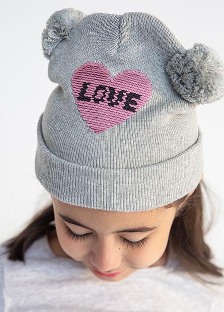 女童圓球耳朵毛帽