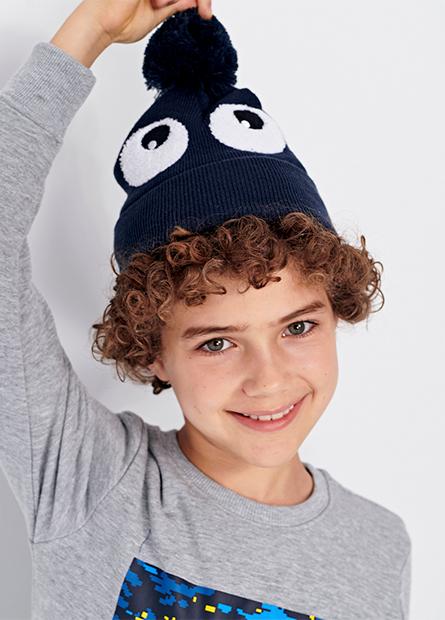童大眼睛球球毛帽