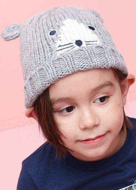 童小熊造型毛帽