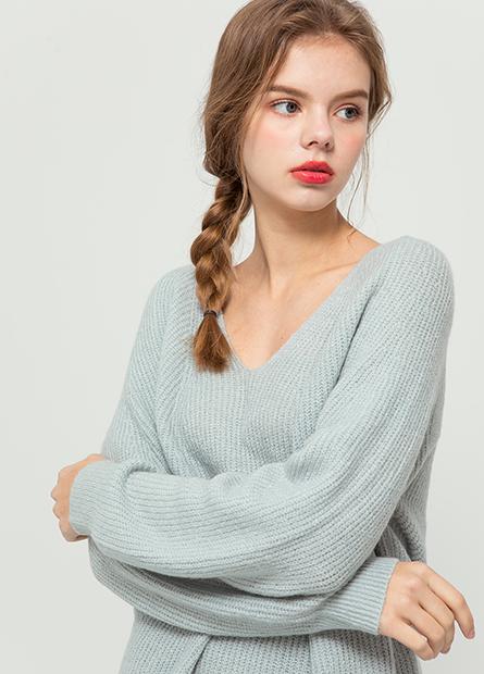 粗針V領毛衣