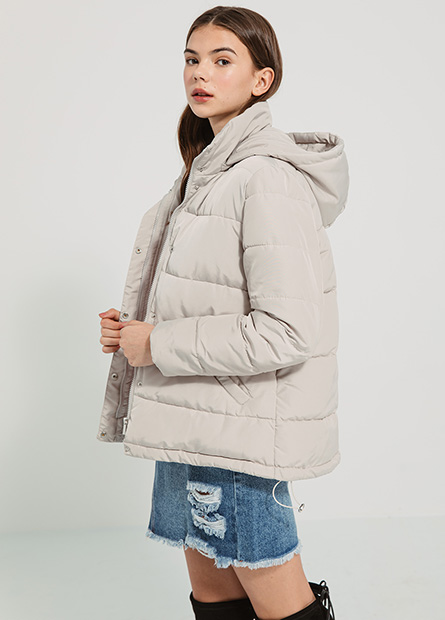 接帽鋪棉外套