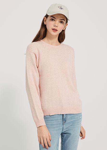 圓領平紋毛衣