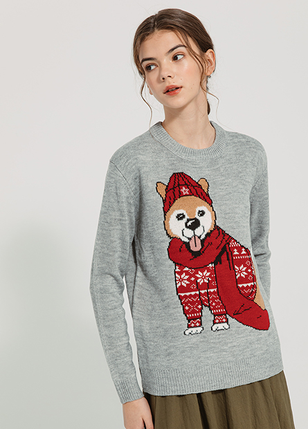 耶誕犬緹花毛衣