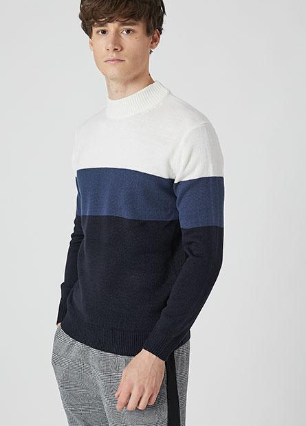 拼接色半高領毛衣