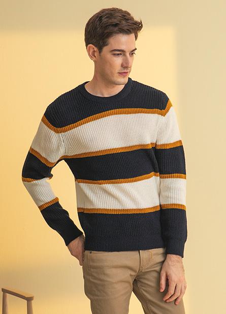 寬條粗針毛衣