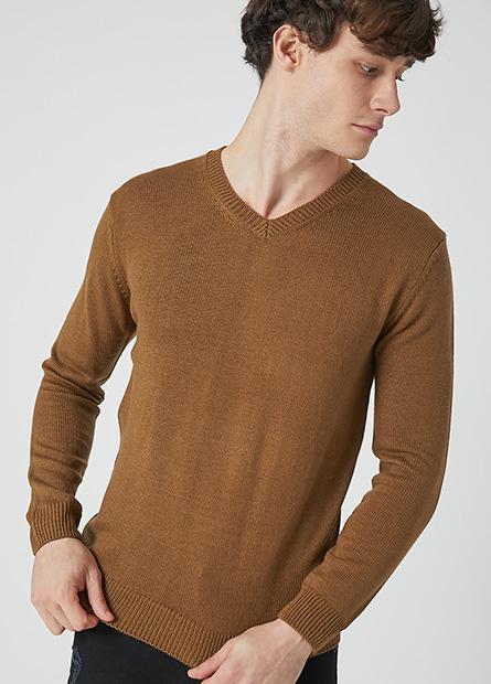 抗起球V領毛衣