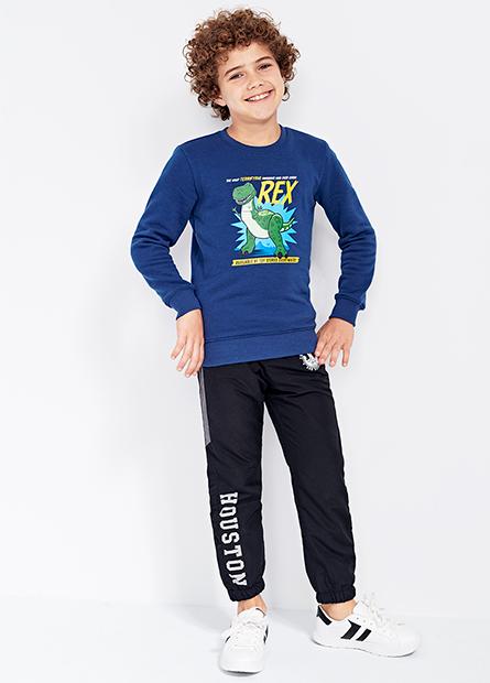 男童太空船防潑水刷毛縮口長褲