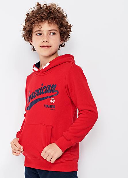 男童美式文字連帽內刷毛T