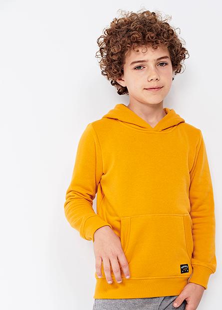 男童小織標素色刷毛帽T