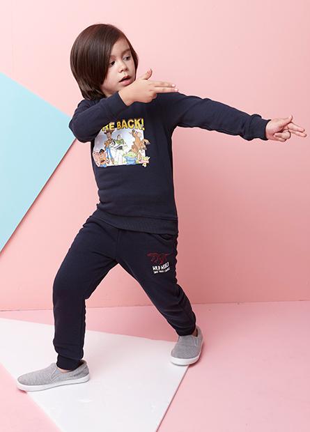 男童刷毛恐龍抽繩縮口褲