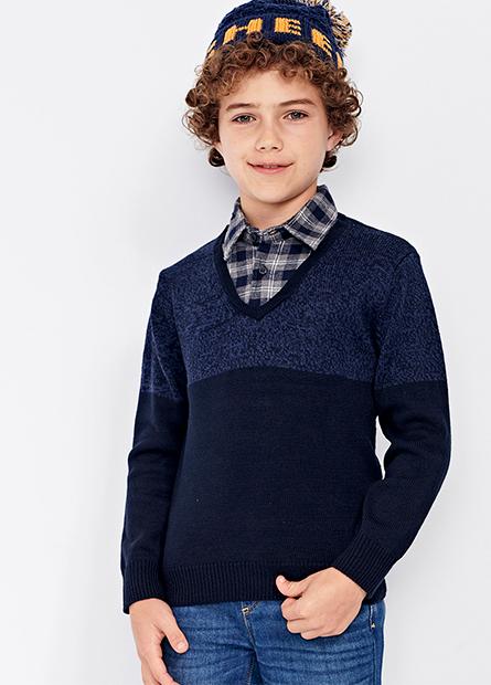 男童假兩件式上毛衣