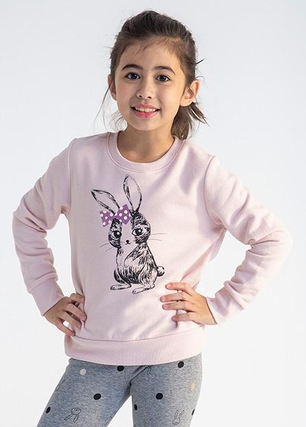 女童兔子印花大學T