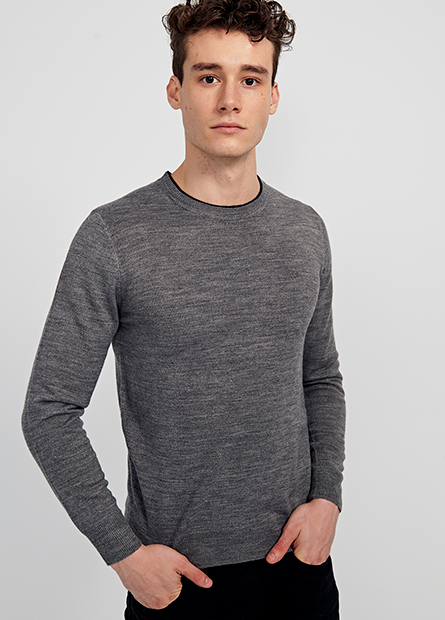 拼接羅紋領毛衣