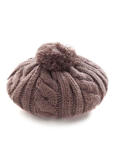 毛球麻花織貝蕾帽
