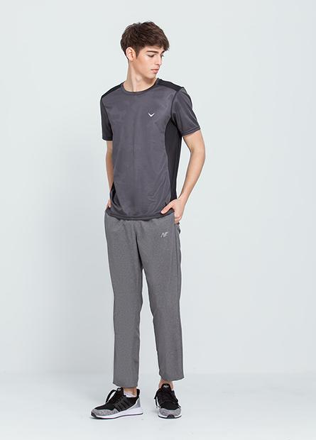 口袋拼色單層運動長褲