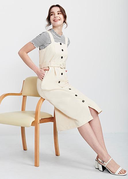 排釦背心附腰帶洋裝
