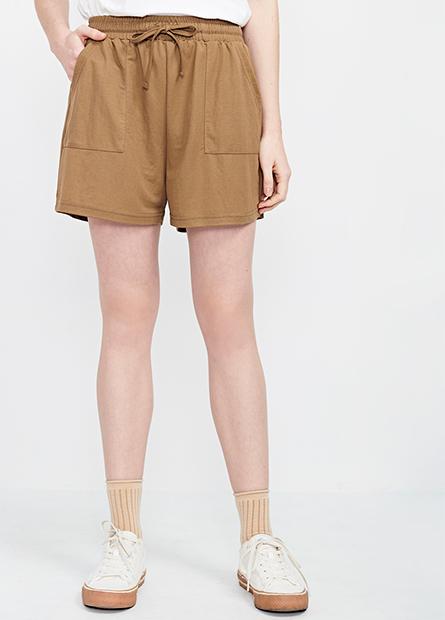 素色抽繩休閒短褲
