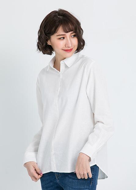 素面立領休閒襯衫