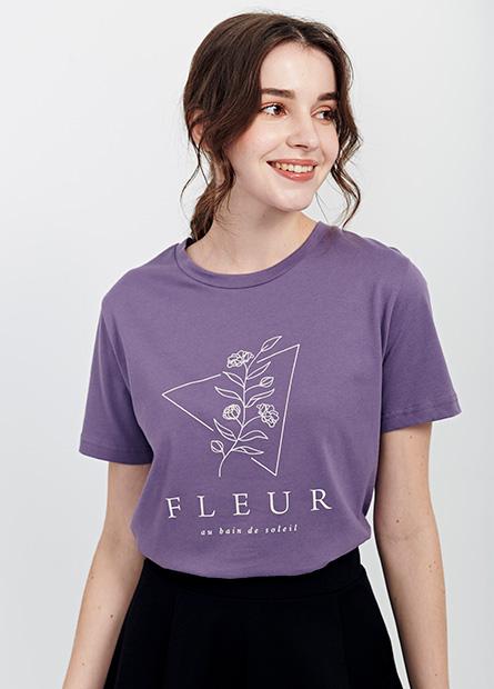 花卉印字寬鬆短T