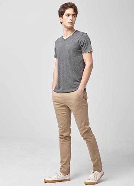 Skinny Fit素色窄管長褲