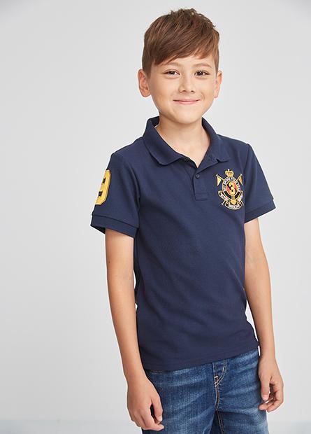 男童繡徽章POLO衫