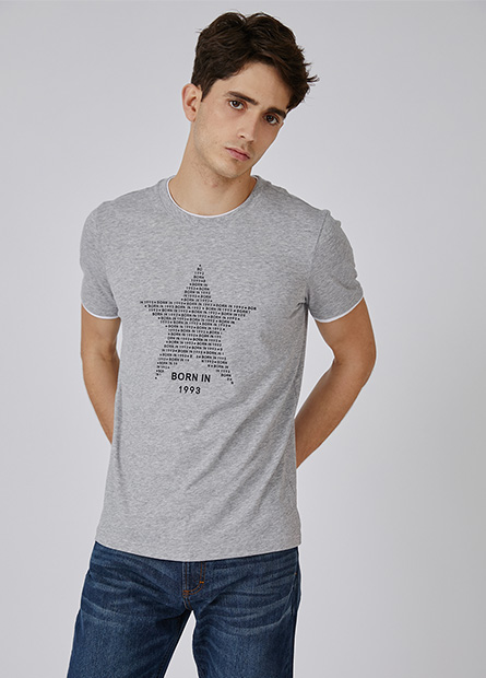 雙層領星星短T