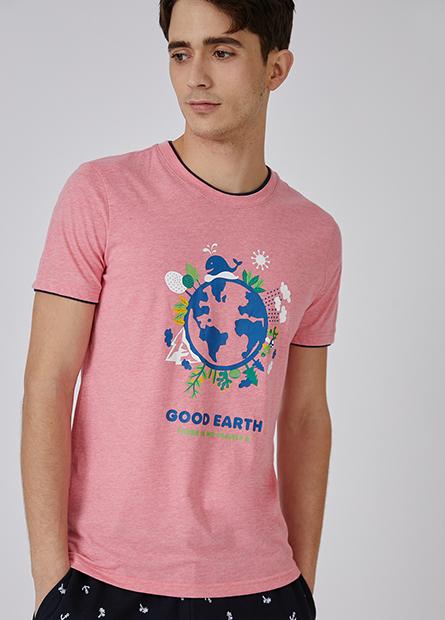 雙層領環保地球短T