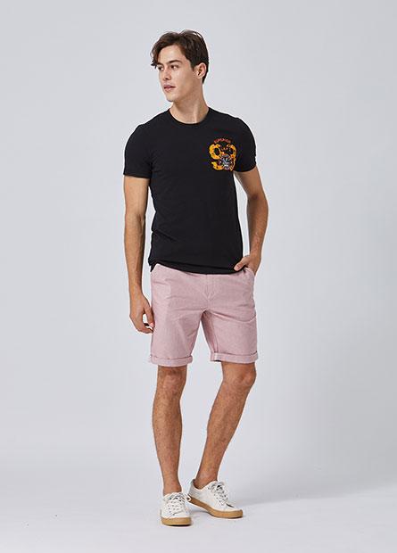 Regular Fit附腰帶反摺短褲