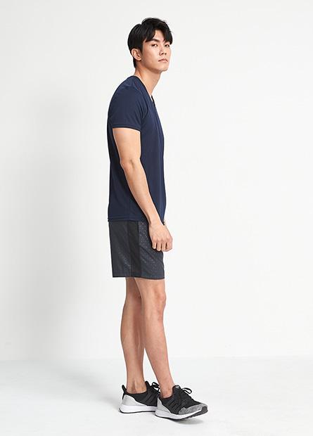 印字網眼拼接運動短褲