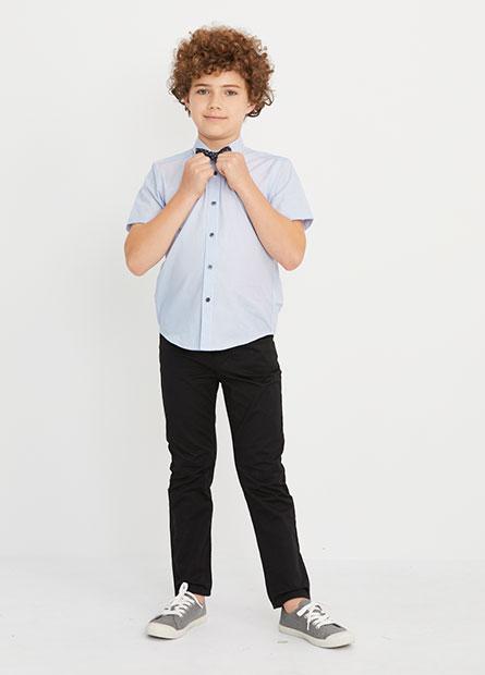 男童附領結短袖襯衫