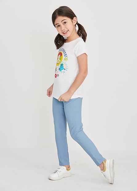女童素色輕便緊身長褲