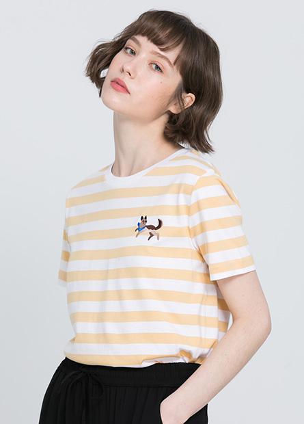 刺繡動物條紋短T