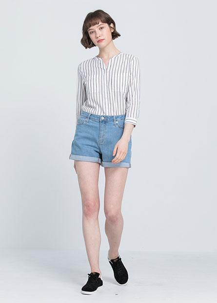 V領捲釦中長袖襯衫