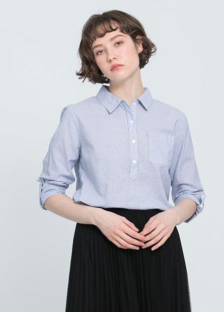 襯衫領開襟休閒上衣