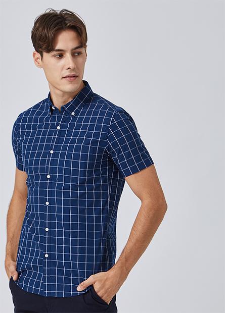 鈕釦領單口袋襯衫