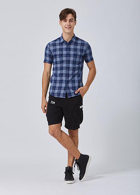 Slim Fit雙口袋短袖襯衫