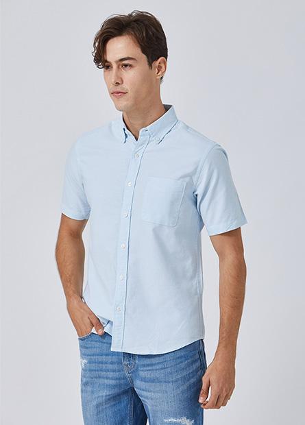 鈕釦領單口袋短袖襯衫