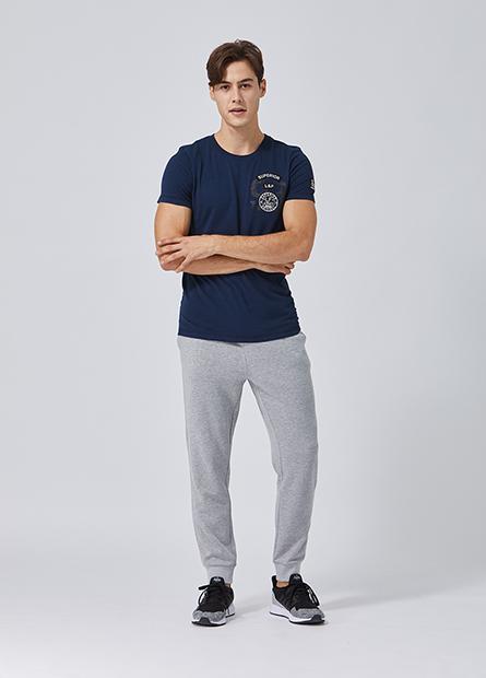 素色窄身束口毛圈長褲