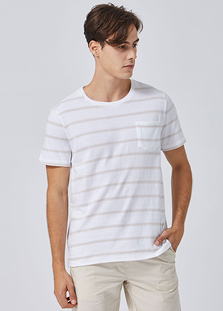 左胸口袋條紋短T