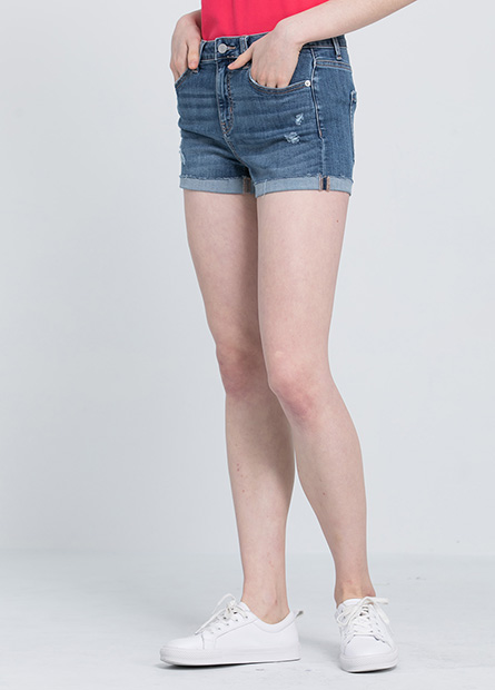 修身反摺牛仔短褲