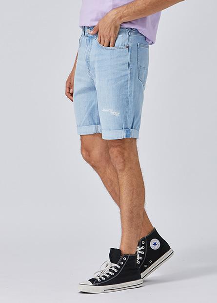 Slim Fit磨破反摺牛仔短褲