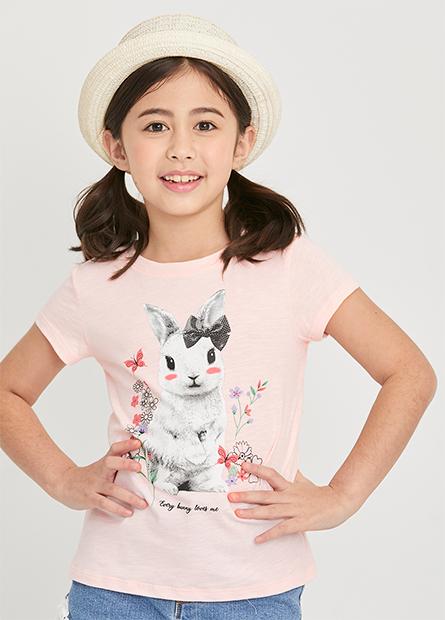 女童可愛動物印花短T