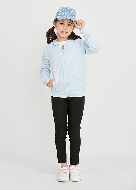 女童抗UV素色連帽外套