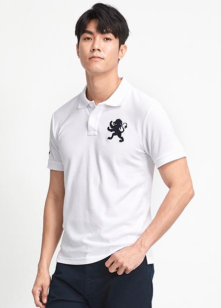 素色大繡獅短袖POLO衫