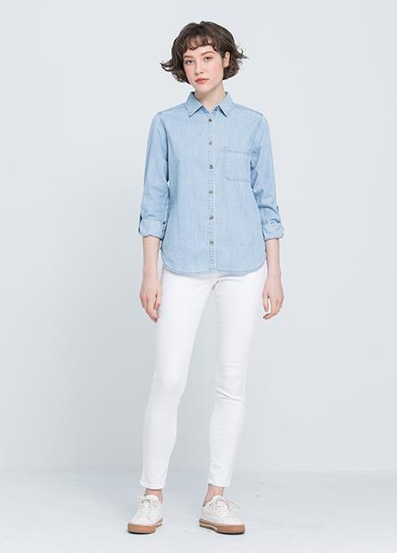 口袋捲釦長袖牛仔襯衫
